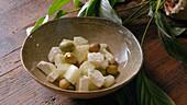 Melon, Feta cheese and Olives salad