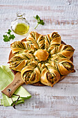 Eastern pastry with parsley pesto