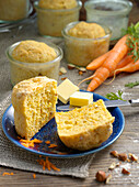 Yellow beet bread baked in a jar