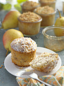 Mini pear cakes with coconut in glasses