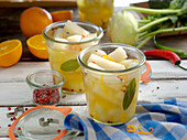 Sweet and sour pickled kohlrabi