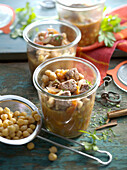 Preserved beef goulash with chickpeas