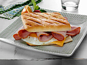 Ham with fried egg and American cheese breakfast panini sandwich