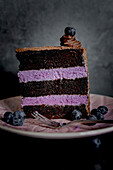 A slice of chocolate blueberry layer cake