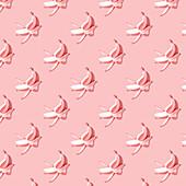 Pink bananas on pink background
