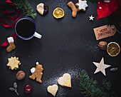 Christmas still life with biscuits, coffee and decoration