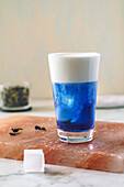 Iced butterfly pea flower tea latte