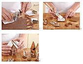 Preparing gingerbread cottage