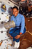 NASA astronaut Stephanie Wilson on Space Shuttle Discovery