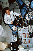 NASA astronaut Mary Cleave onboard Atlantis