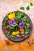 Fresh herbs and edible flowers