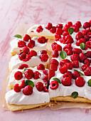 Raspberry cream cheese sheet cake