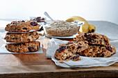 Haferflocken-Kekse mit Banane und Cranberries