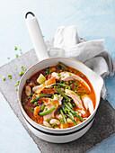 Bean casserole with roast chicken