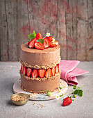 A fault-line cake with strawberries and brittle