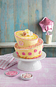 Mini topsy-turvy cake with buttercream