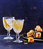 Cointreau fizz and raspberry jelly and roquefort puffs for the New Year day feast