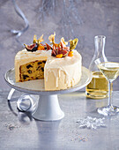 New Year's Eve cake with whiskey and dried fruits