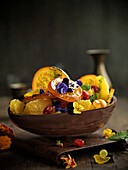 Orange salad with candied fruits