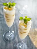 Grape sorbet served in champagne glasses