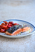 Roasted salmon with red pepper