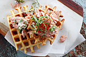 Light waffles with steamed salmon