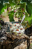 Curd cream with grapes and sultanas