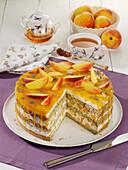 Peach tart with mascarpone-quark cream and poppy seed base