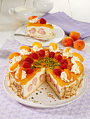 Cream puff cake with apricots and sour cream