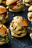 Raclette chicken sliders with oyster mushrooms and romaine lettuce