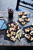 Mini focaccias with roasted salmon and beetroot