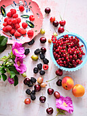 Fresh summer fruits - berries, cherries and apricots