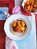 Black mush (buckwheat porridge) with apricots fried in butter