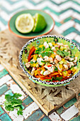 Ceviche with prawns and vegetables