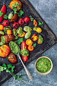 Baked heirloom tomatoes with salsa verde