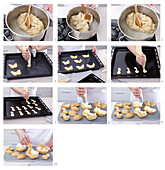 Swans made from choux pastry - step by step