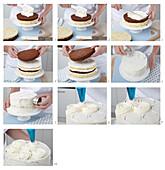 Schwarz-weiße Torte mit Sahnecreme zubereiten