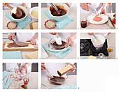 Preparing chocolate and hazelnut wafers with strawberry milk