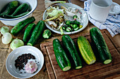 Ingredients for Russian pickled cucumbers