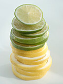 A sttack of lemon and lime slices