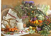 An arrangement of healthy food for vegetarians – fruit, vegetables, brioche