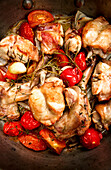 Rabbit pot roast with tomatoes and rosemary