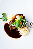 Beef boiled fillet braised in Burgundy with fine vegetables