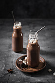 Chocolate milk with marshmallows