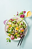 Fresh salad with cucumbers, shrimps, orange and mesclun