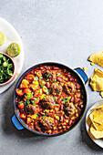 One-pot chilli con carne meatballs