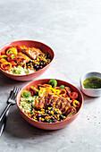 Chicken burrito rice bowls