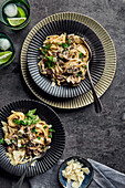 Pasta mushroom stroganoff with parmesan and parsley