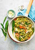 Wild garlic pasta with smoked salmon