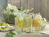 Elderflower syrup with lime, lemon and orange slices